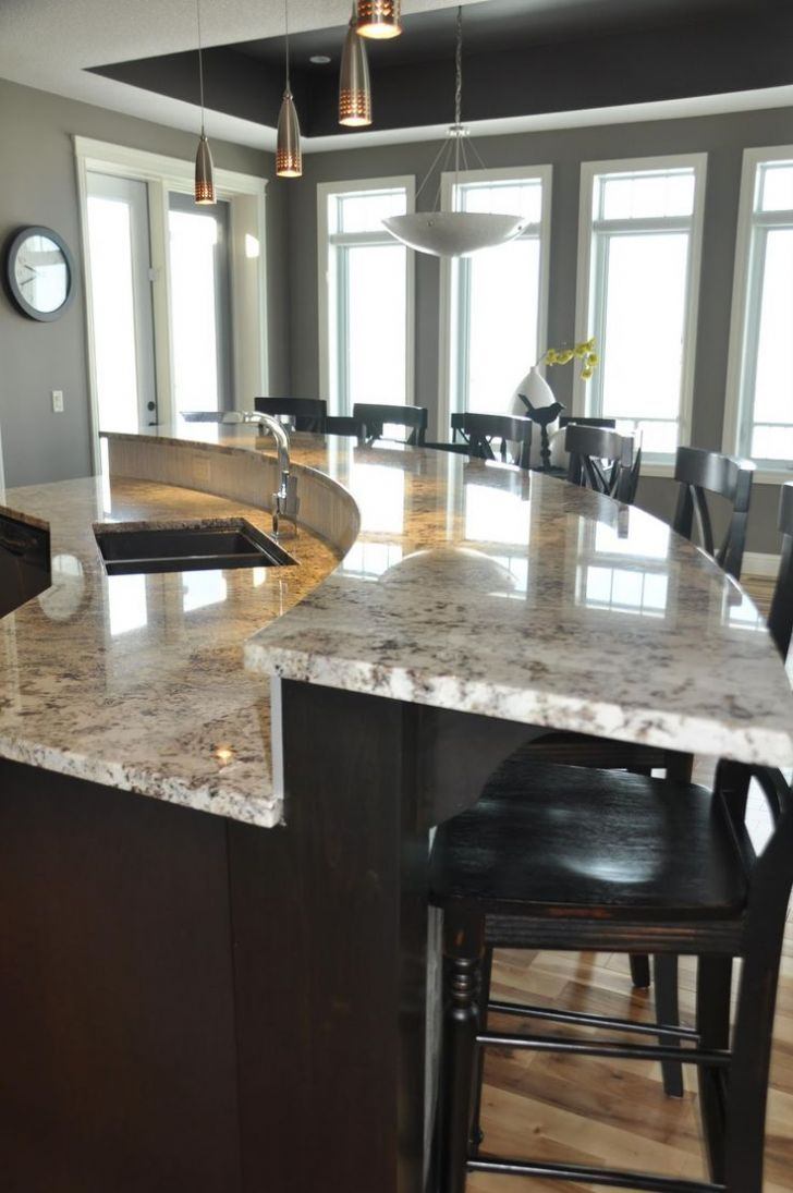 Large Curve Wood Marble Top Kitchen Island Designs With ...