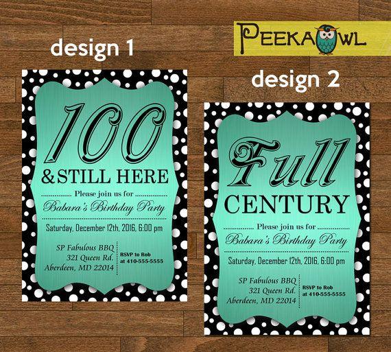 Printable Diy Dots 100th Birthday Invitation Card By