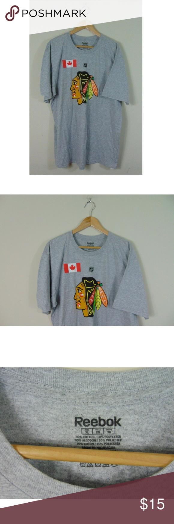 0a559fb9221 Reebok Men XL Chicago Gray Short Sleeve NHL Shirt Reebok Men's XL Chicago  Blackhawks Gray Short