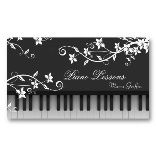 Piano Teacher Lessons Business Card Floral Swirl Piano Teacher