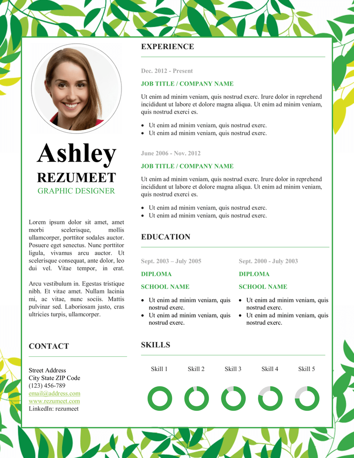 Fresh And Floral Free Resume Template  Modern  Creative Resume