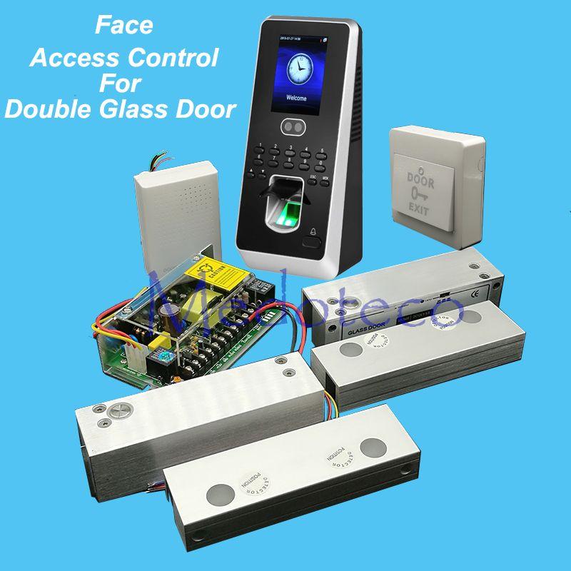 Diy Face Access Control System Kit Frameless Double Glass Door Access Control Set Kit Power Supply Tw Access Control Double Glass Doors Frameless Glass Doors