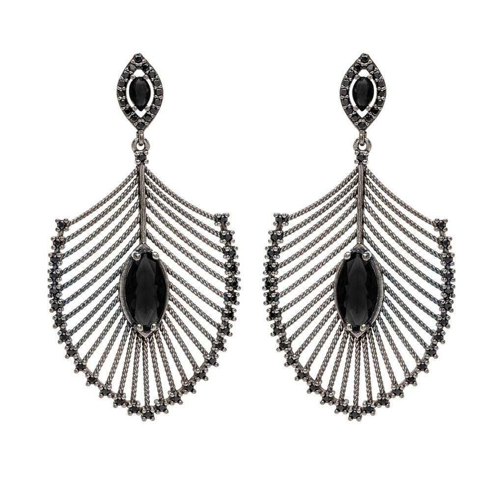 Glamorous Chandelier Earrings Oxidized Sterling Silver Can Dramatically Dress Up Your Night With Y Shiny Black Spinel Stones By Nickho Rey