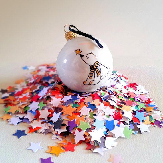 Boule de Noël Ours Polaire en verre décorée à la main Noir et
