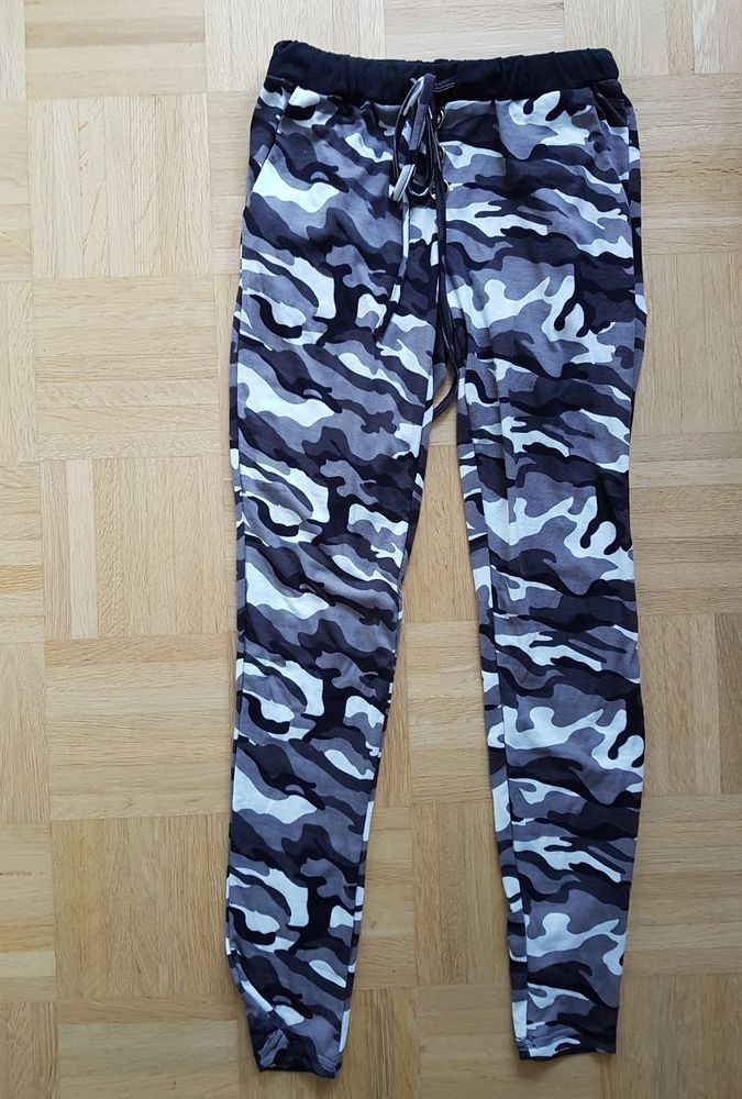 Sexy jogginghose camouflage schwarz/grau/weiss eng leggings gr.xs/s ...