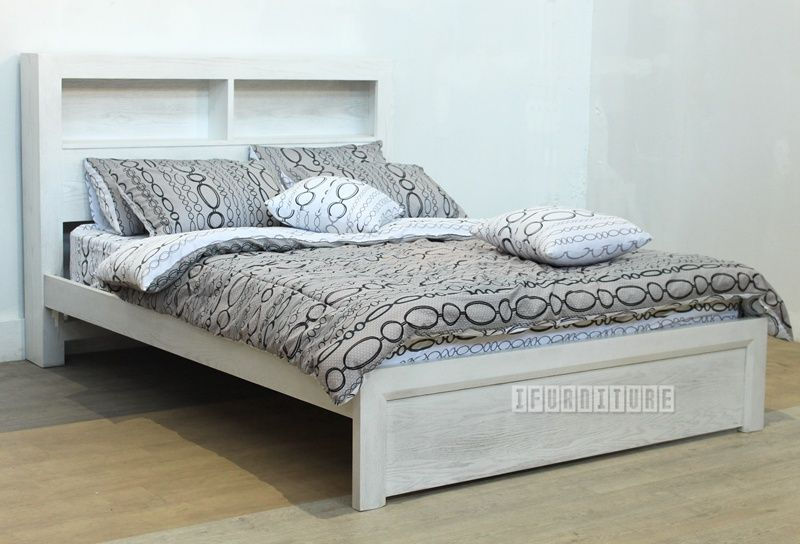 Brenna White Wash Oak Bed In Queen Size Bookshelf Headboard Bedroom Nz S