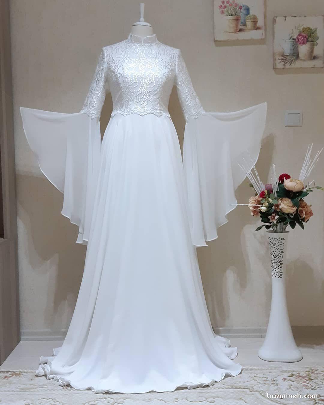 لباس عروس حریر با یقه مدل آخوندی و آستین های کلوش پیشنهادی پوشیده و زیبا  برای عروس خانم ها در روز فرمالیته عروسی | Dresses, Wedding dresses, Crochet  dress