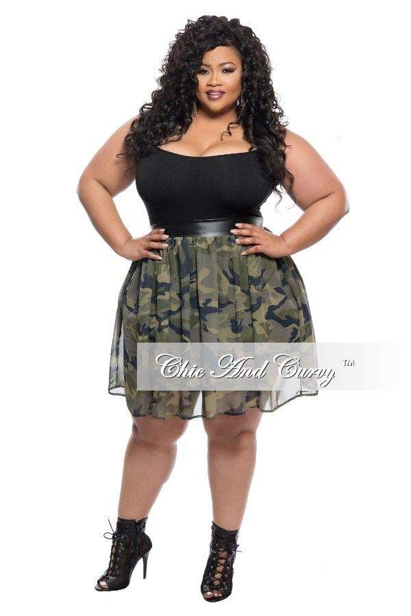 Final Sale Plus Size Camouflage (Camo) Chiffon Skater Skirt ...