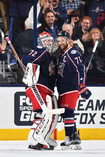 COLUMBUS, OH - DECEMBER 27: Goaltender Sergei Bobrovsky #72 of the Columbus Blue Jackets celebrates with Nick Foligno #71 of the Columbus Blue Jackets after defeating the Boston Bruins 4-3 on December 27, 2016 at Nationwide Arena in Columbus, Ohio. (Photo by Jamie Sabau/NHLI via Getty Images)