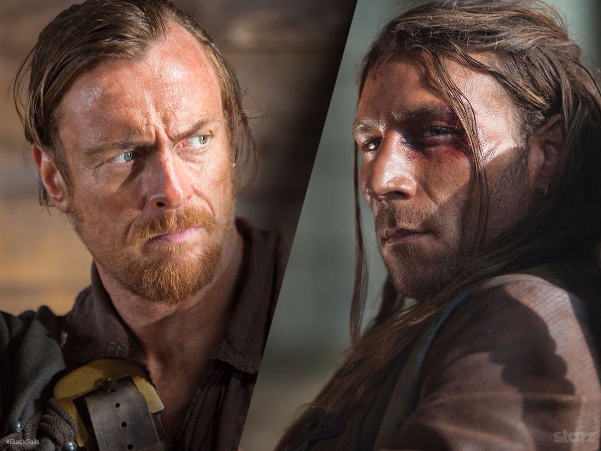 Black sails s3 pirate captain flint leather coat - Flint And Vane From Black Sails Starz Two Men Two Visions Only