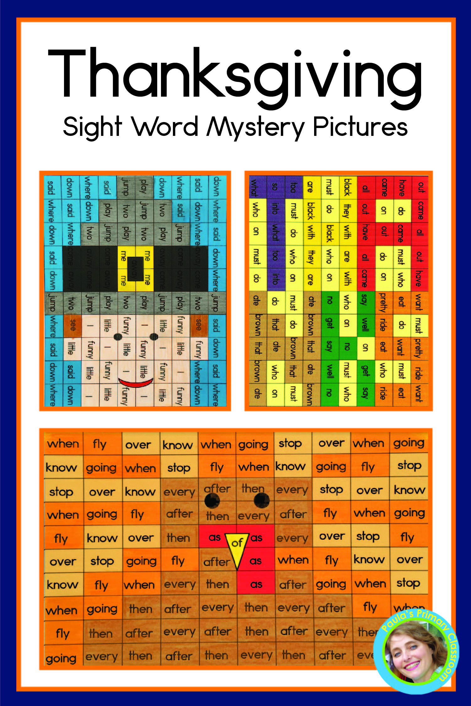 Thanksgiving Sight Word Mystery Picture No Prep Worksheets