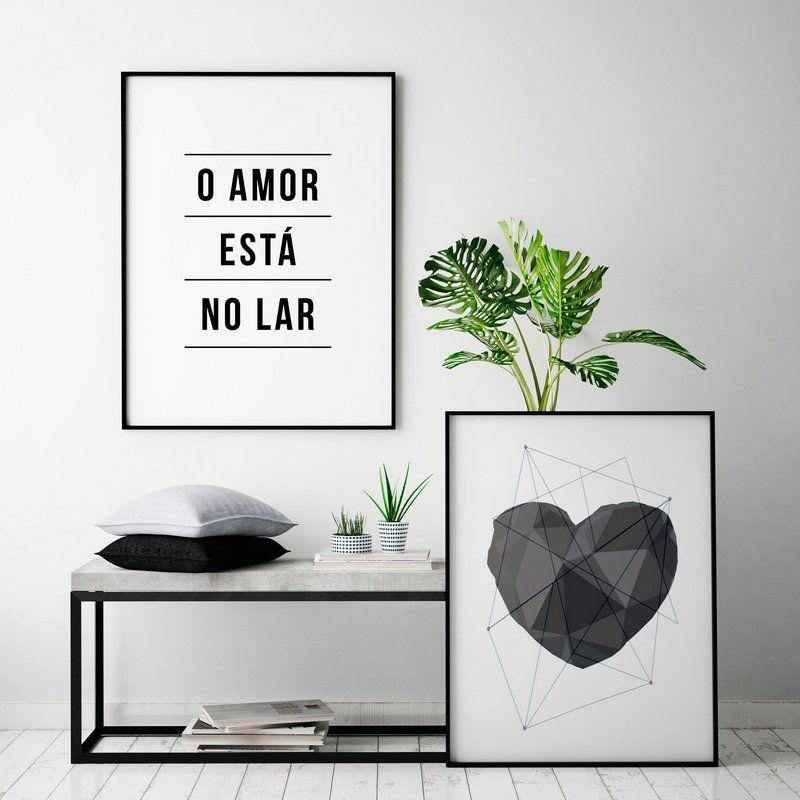 10df3185a Conjunto de Poster O Amor Está no Lar + Coração Geométrico Cinza 50x70 cm  Cada -