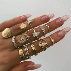 Gold adjustable stackable ring set. (various ring designs)