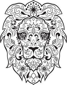 lion zentangle coloring page - Sugar Skull Tattoo Coloring Pages