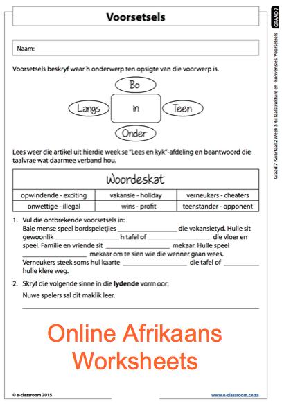 Grade 7 Online Afrikaans Voorsetsels Worksheets. For more worksheets ...