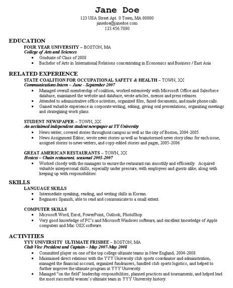 Graduate School Resume Example -   getresumetemplateinfo/3482 - resume sample for graduate school