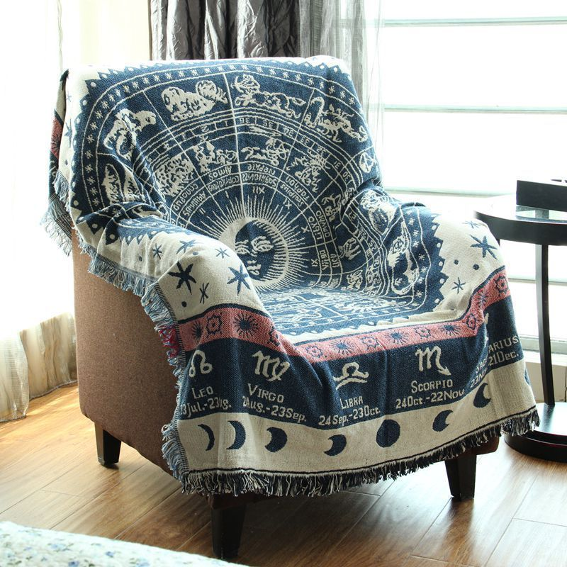 constellation pattern fringed tapestry cotton throw blanket