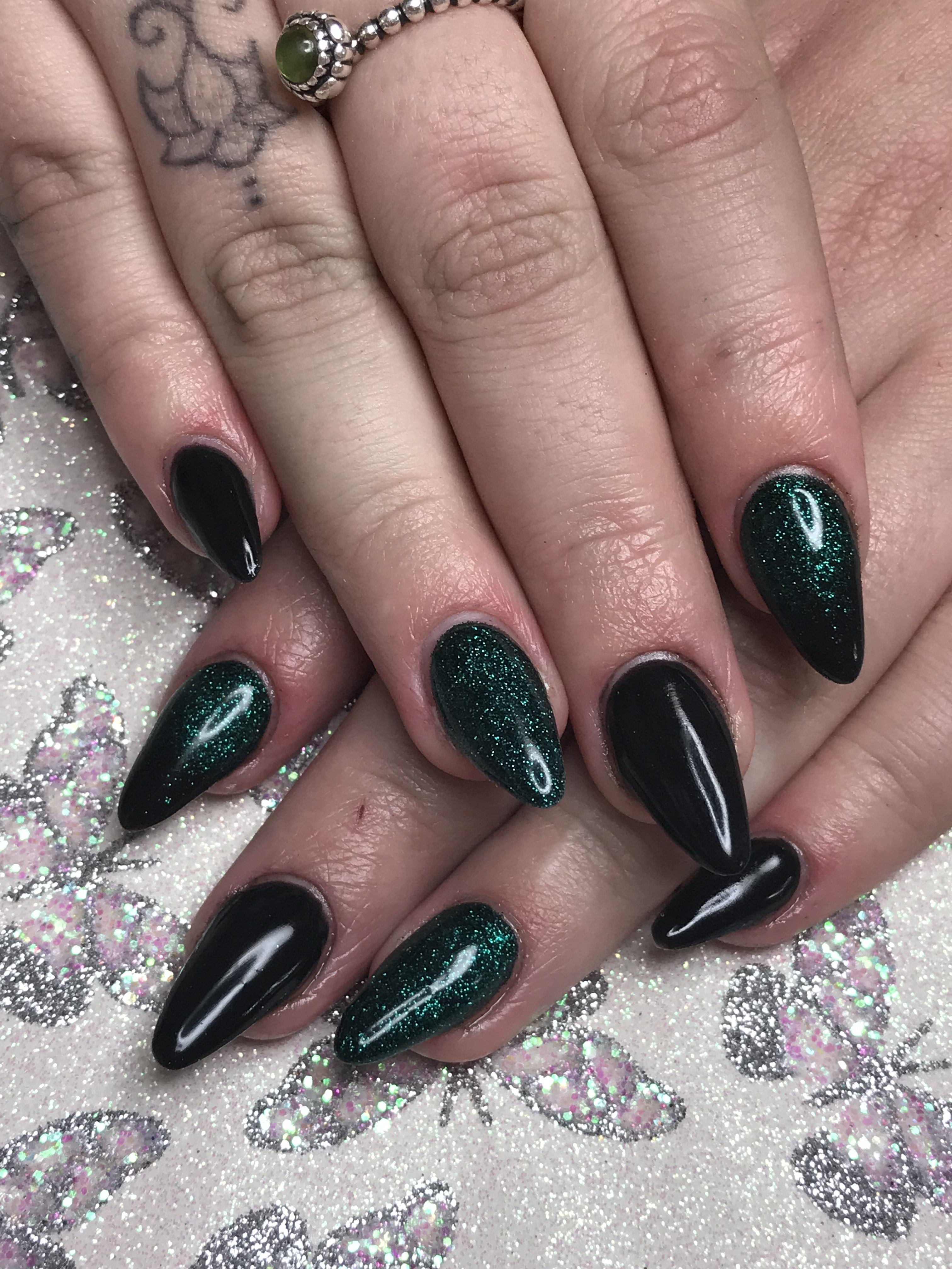 Black Emerald Green Burgundy Nails Black Nail Designs Green Nail Designs