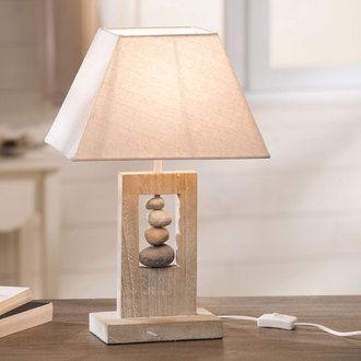 Lampe poser en bois avec galets et abat jour pyramide en tissu