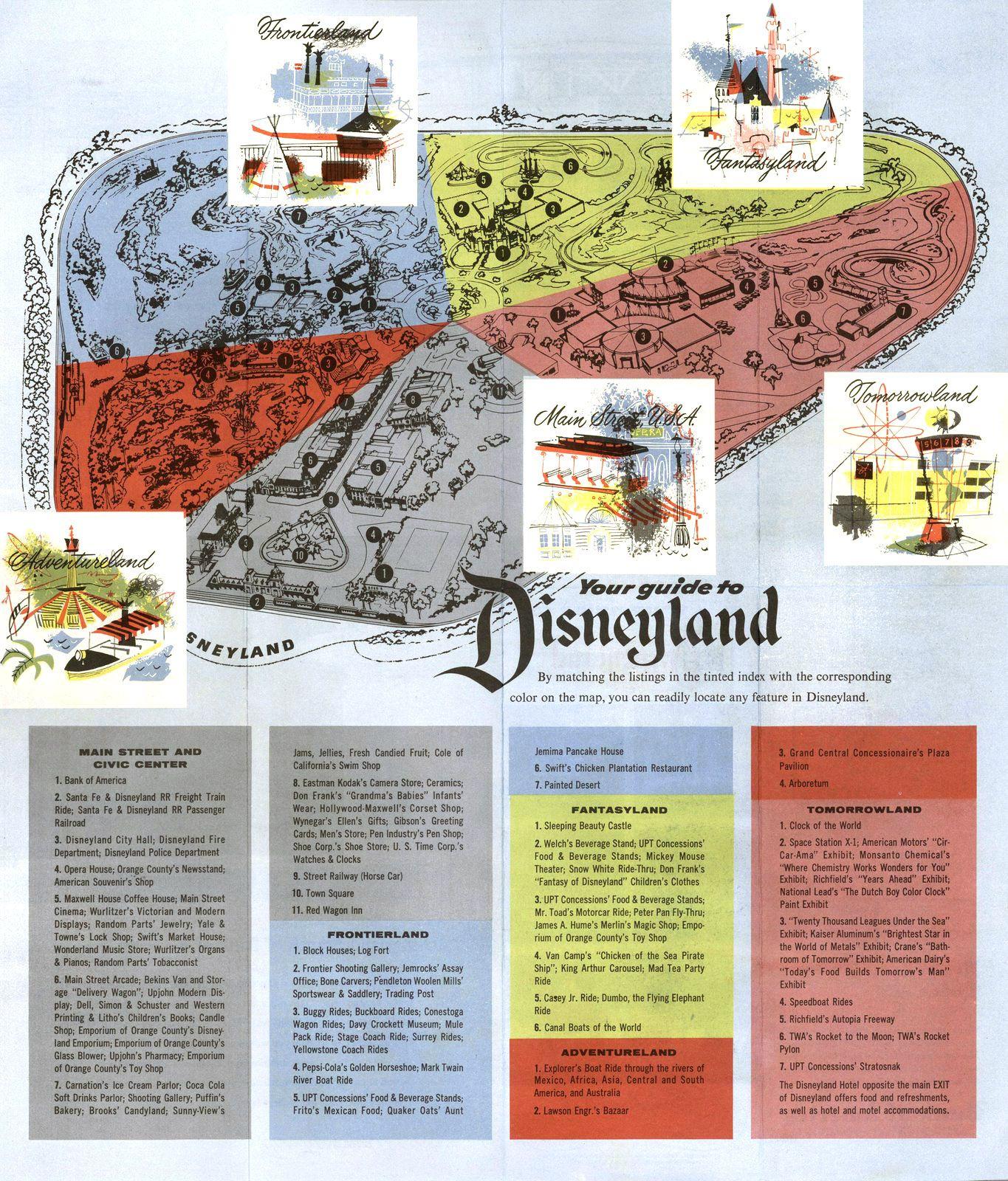 RARE 1957 Bank of America Your Guide to Disneyland Amusement Park Brochure /& Map