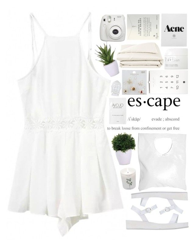 """""""Untitled #1704"""" by tacoxcat ❤ liked on Polyvore featuring Ancient Greek Sandals, Topshop, Lux-Art Silks, Carriere, Jennifer Haley, NARS Cosmetics, Frette and Dogeared"""
