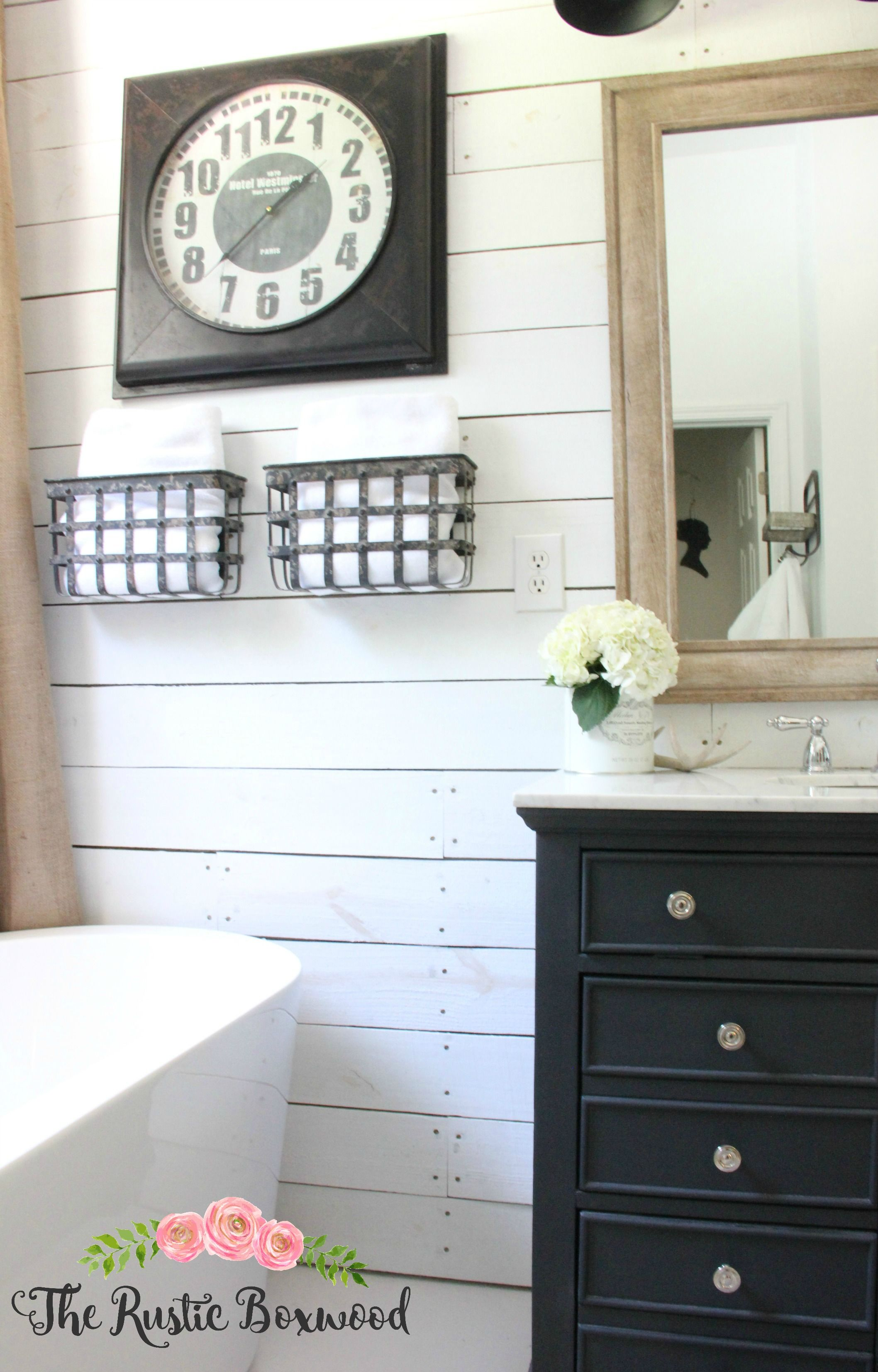 Shiplap in the bathroom The Rustic Boxwood