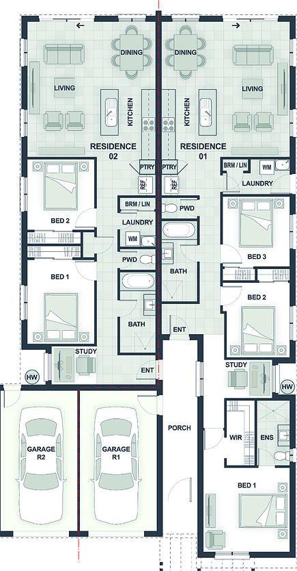 Dual Occupancy House Plans Google Search Australian House Plans House Plans Farmhouse House Floor Plans