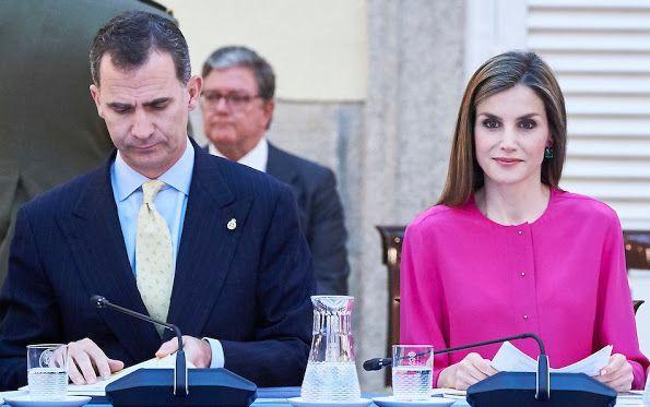 King Felipe and  Queen Letizia attend a meeting at Palacio de El Pardo