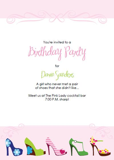 Printable High Heel Stiletto Party Invitation Templates My party - birthday invitation template printable