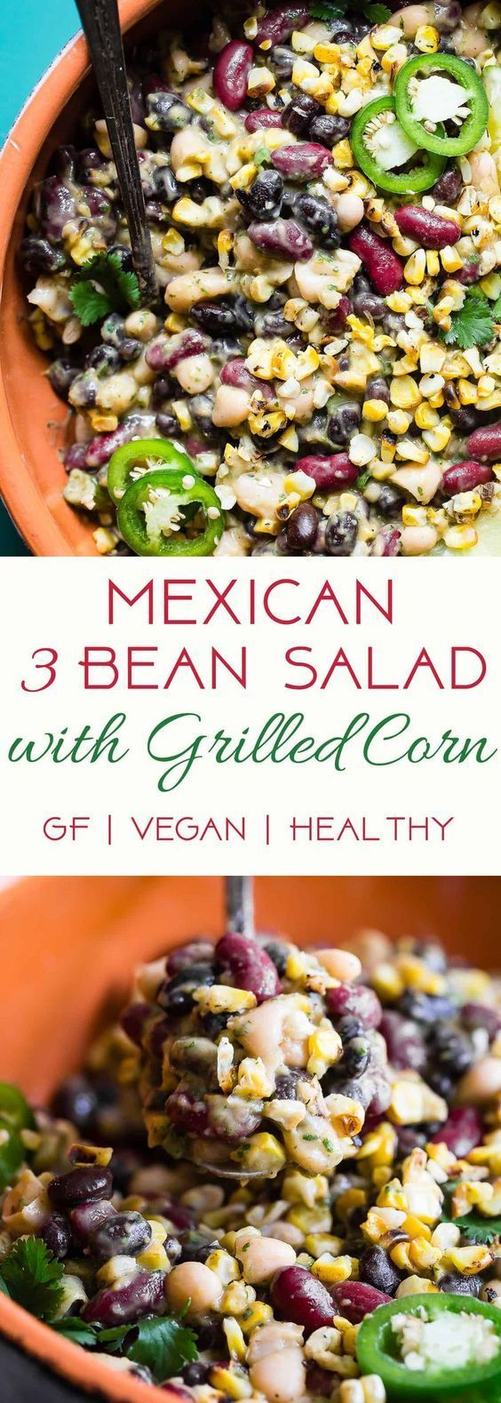 Three Bean Mexican Corn Black Bean Salad - This quick and easy, healthy three bean salad has a Mexican twist with an avocado salsa dressing! It's the perfect Summer side and it's gluten free, vegan and only one Weight Watchers Freestyle point! | |