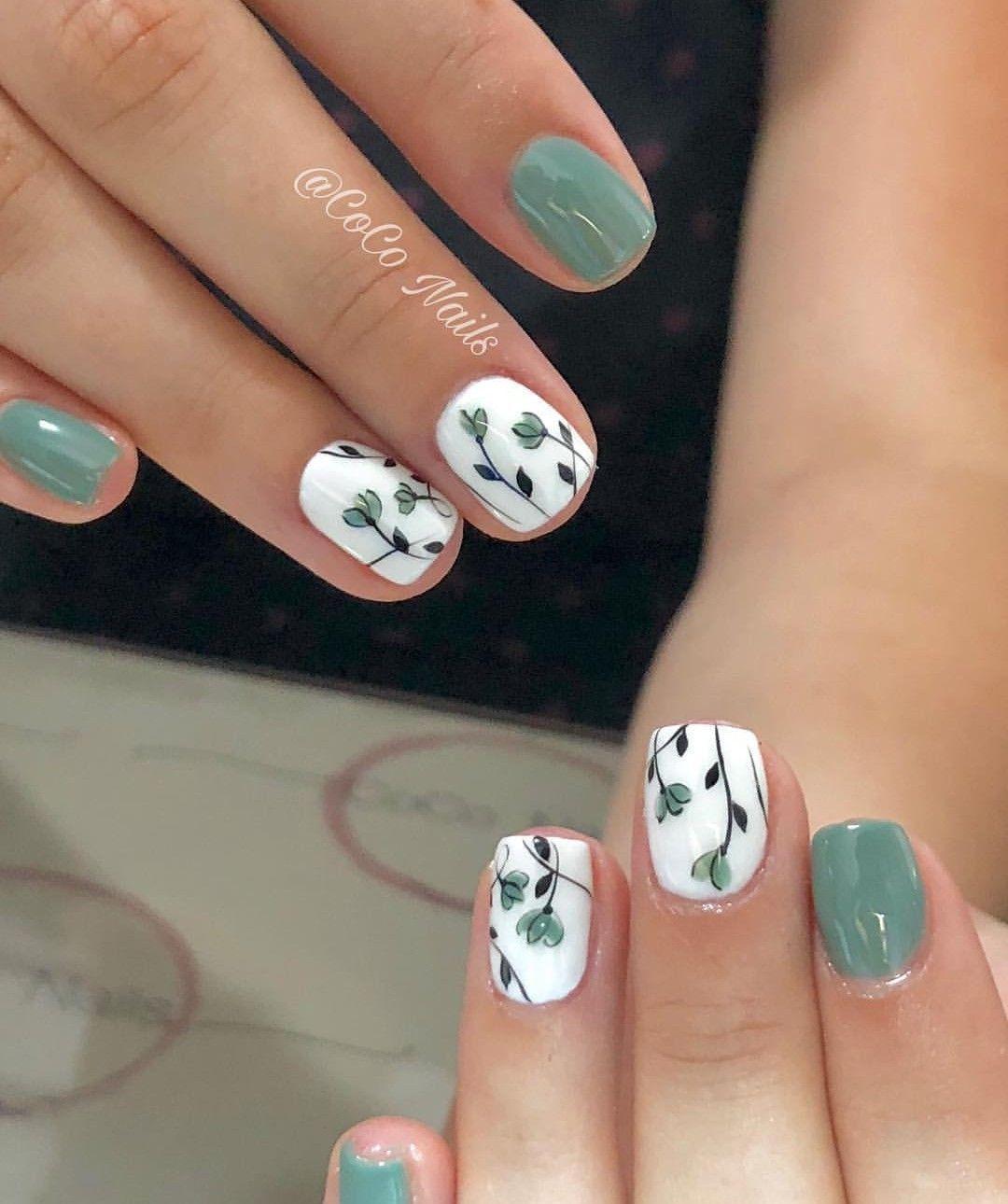 51 Simple Short Nail Art Design for Spring