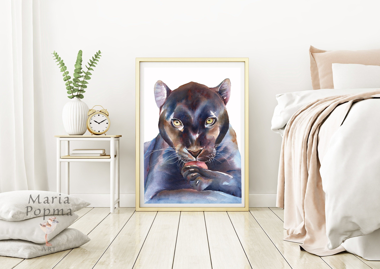 Panther Watercolor Print Animal Wall Art Decor