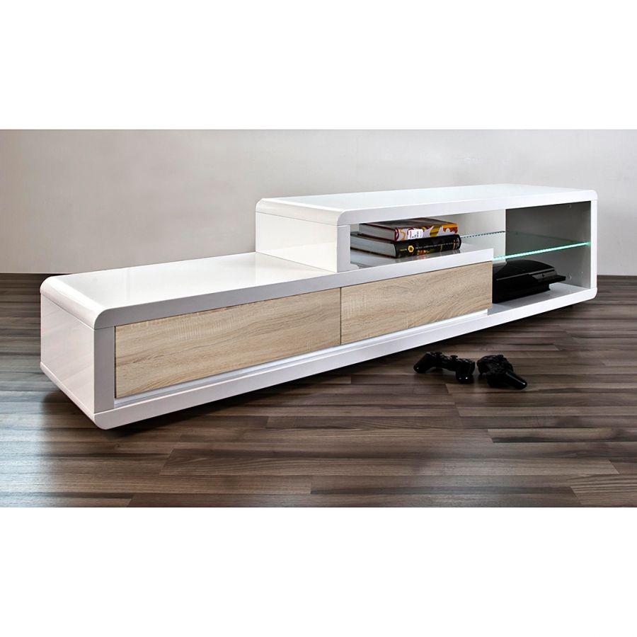Tv Tisch Sono Hochglanz Weiß Sonoma Eiche Dekor Kaufen Home24