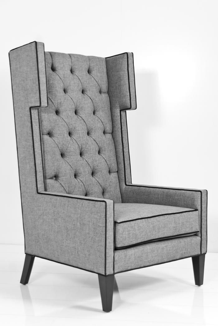 New Tangier Wing Chair in Zuma Pumice Textured Linen HD - modern wingback chair Pictures