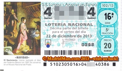 2013 MadridMan Spain Christmas Lottery Ticket
