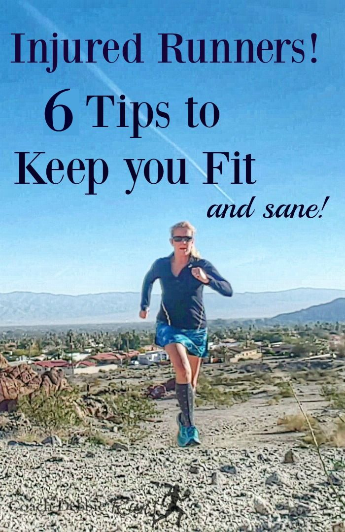 Are you an injured runner? Here are six tips that will help you stay fit (and sane!) while you recover.