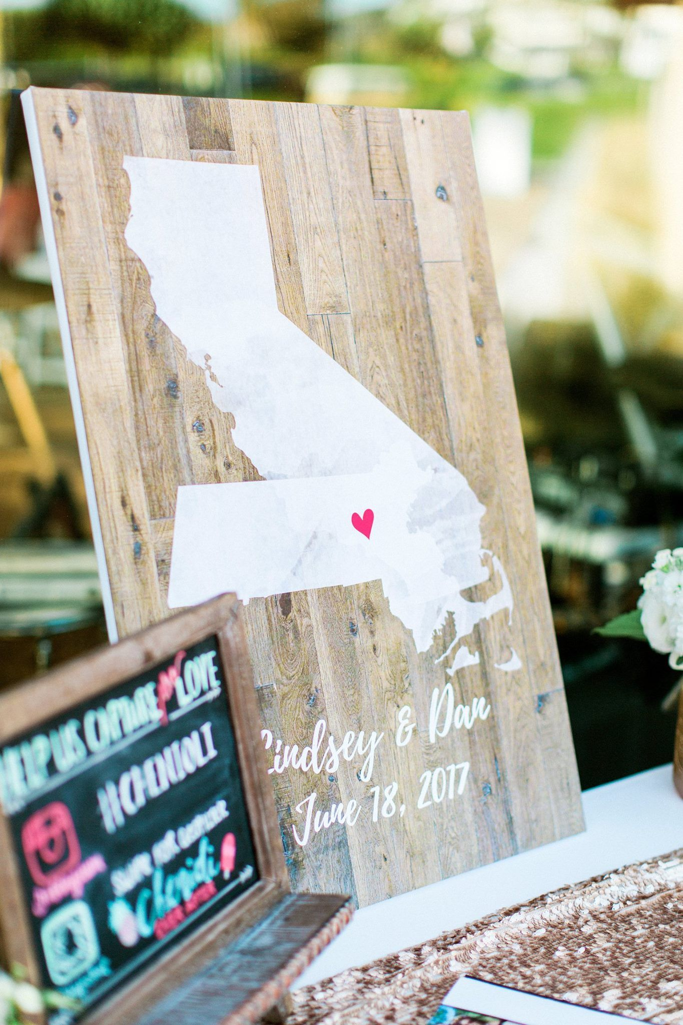 Rustic Wedding Guest Book Alternative with Wood, Two State Wood ...