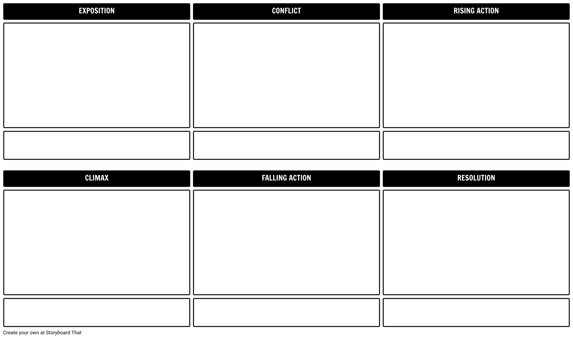 plot diagram or storyboard template for planning your movie of film