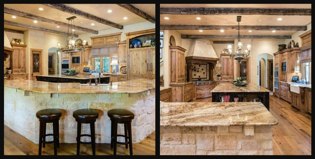 Country kitchen with granite countertops, stone-faced eating bar, custom cabinets, tile work, beamed ceiling treatment.
