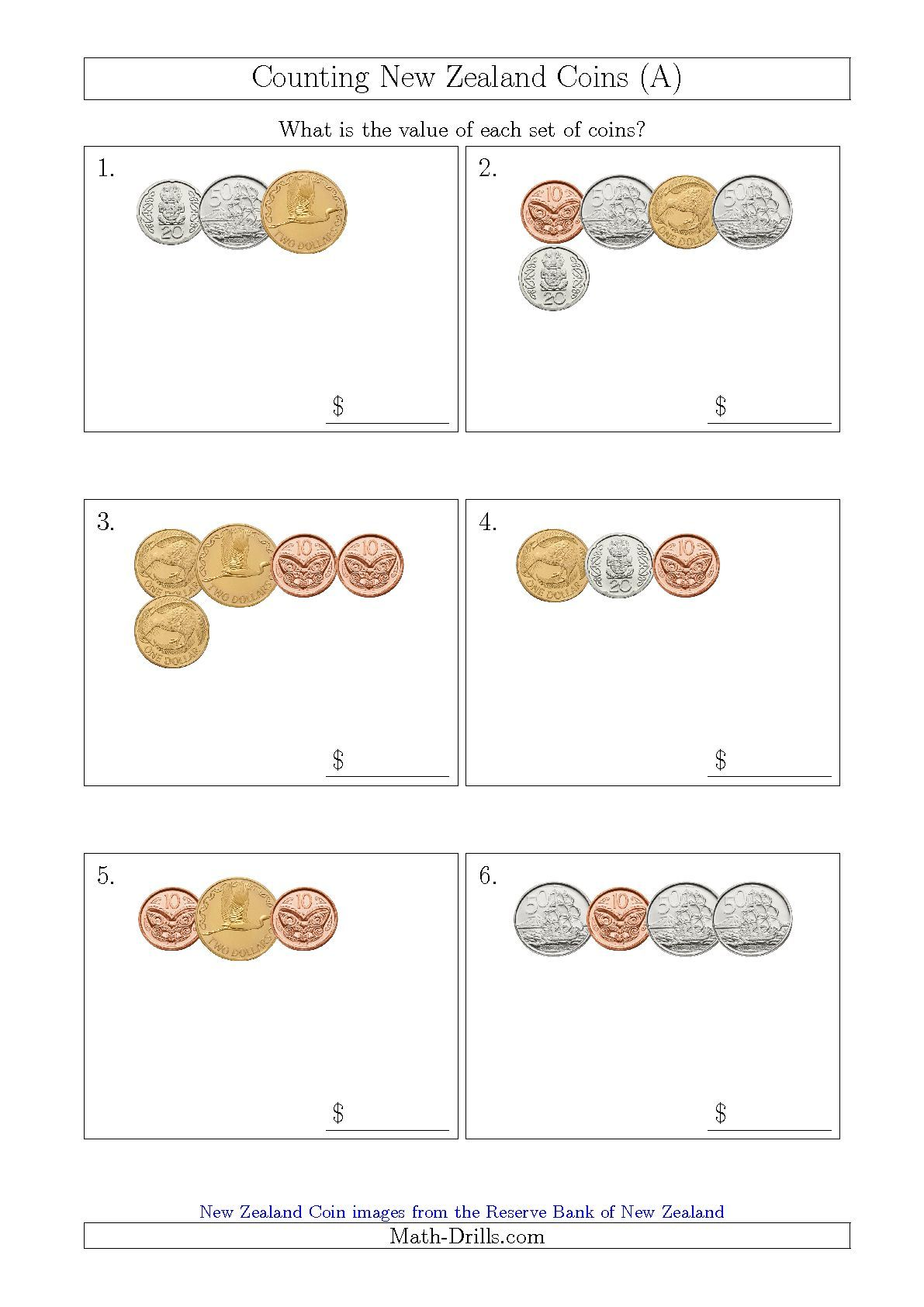 Counting Small Collections Of New Zealand Coins A Maths