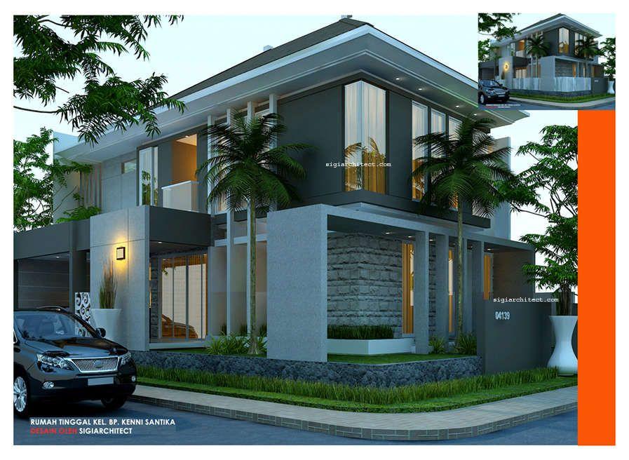 Desain Rumah Minimalis Kavling Sudut Hook 2 lantai berdiri diatas
