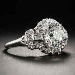 1.66 Carat Art Deco Diamond Engagement Ring