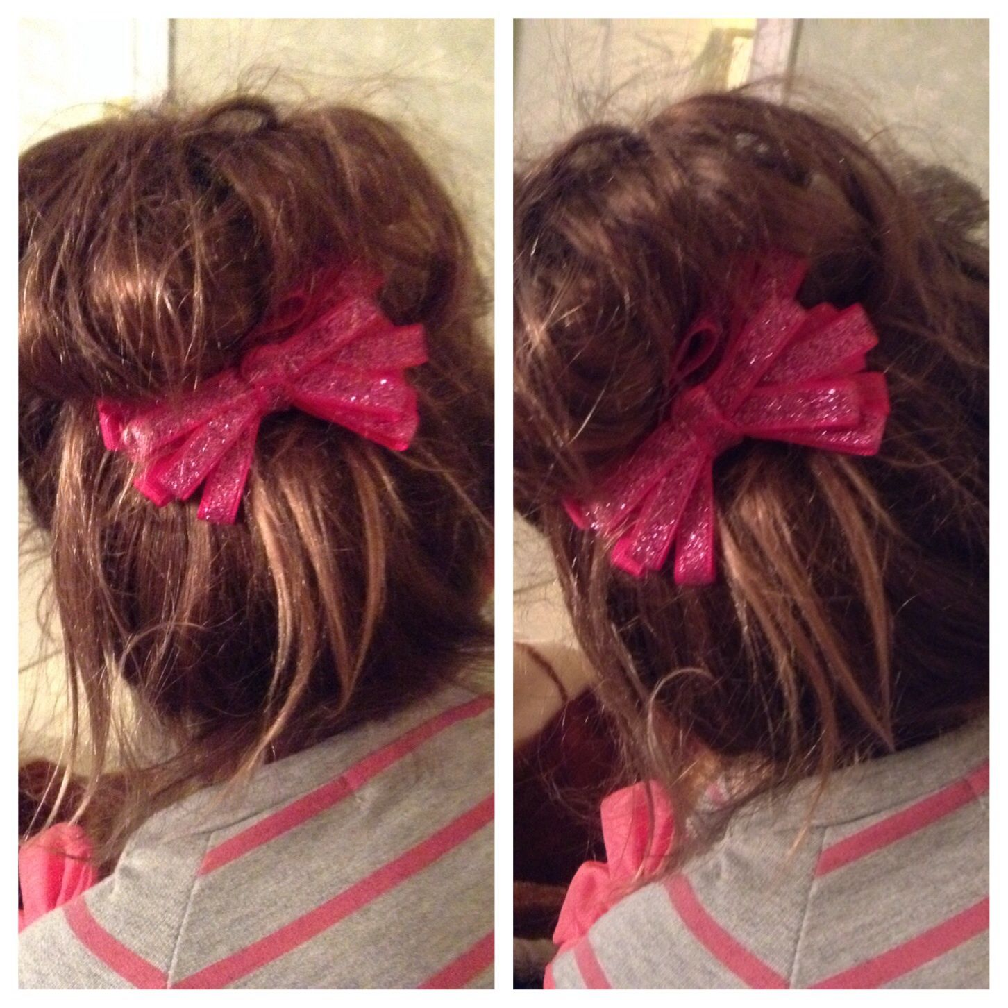 Cute messy bun with bow I wore my hair like this today I luv this
