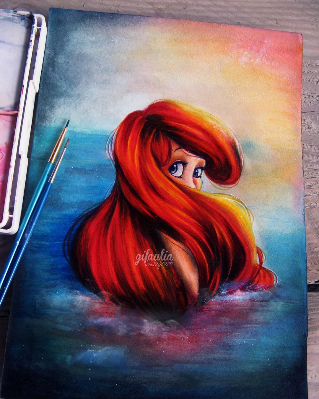 Gina Fajri Aulia On Instagram You Don T Need Water To Feel Like You Re Drowning Watercolor Acrylics And Prismacol Disney Paintings Disney Art Disney Drawings