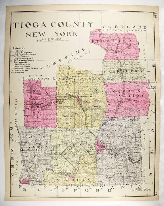 Tioga County NY Map New York County 1912 Antique Map Owego
