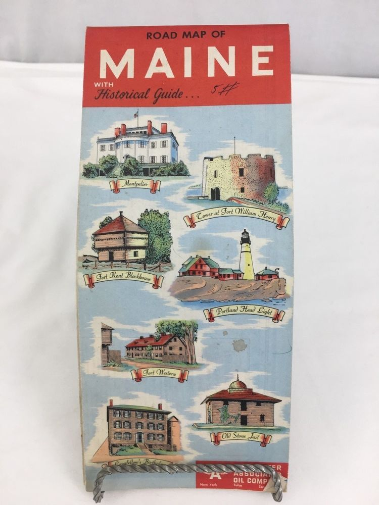 1950 Road Map Maine with Hstorical Guide