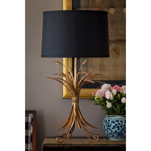 Antique Gold Wheat Lamp With Black Shade Dn Black