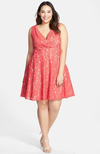 Free shipping and returns on Eliza J Surplice Lace Fit & Flare Dress