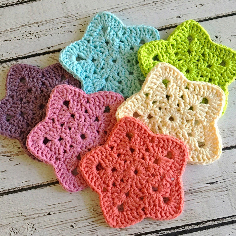 PDF Granny Super Star Coaster N Motif Crochet Pattern | Coasters ...