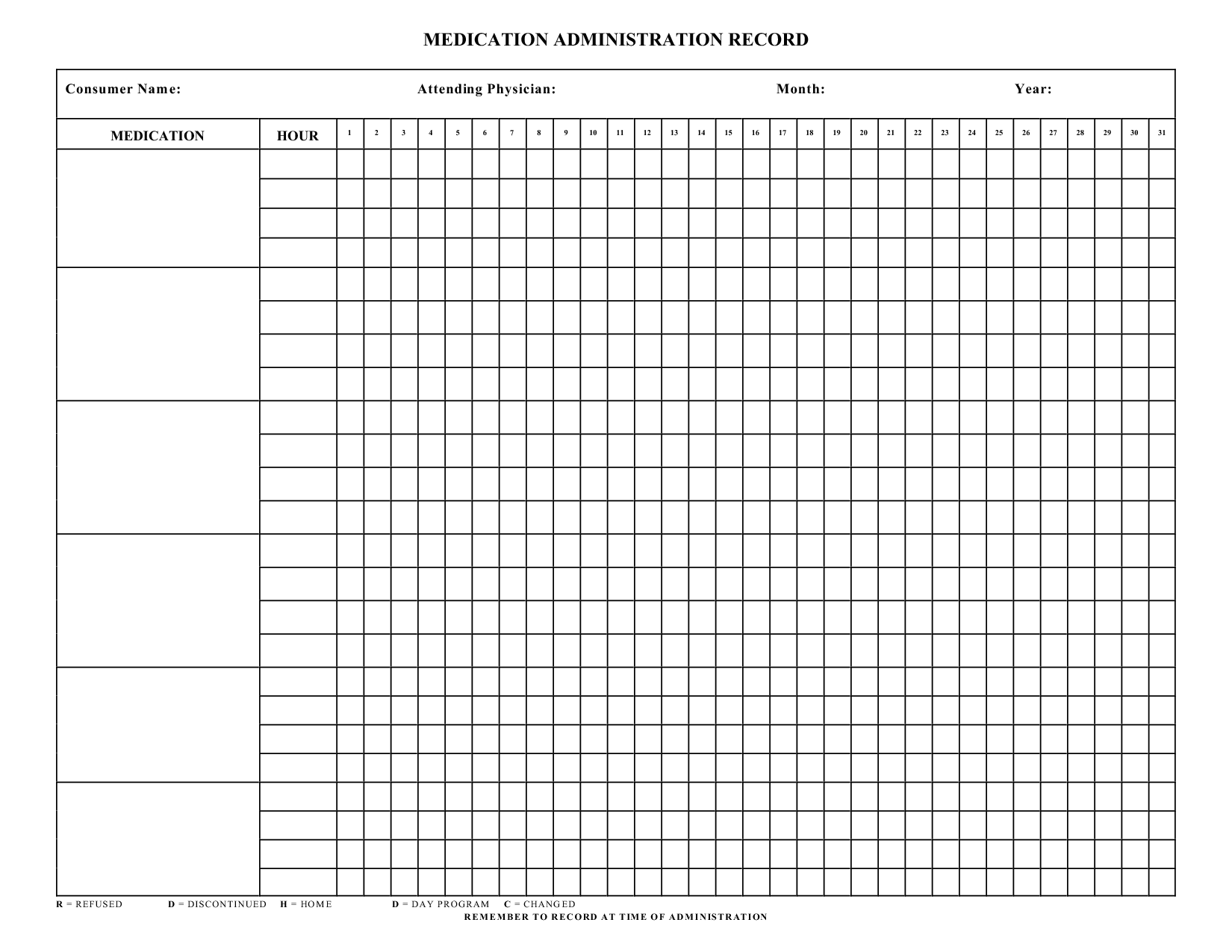 Blank Medication Administration Record Template